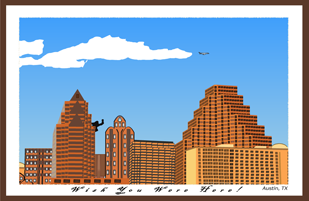 an Adobe Flash animated postcard showing the Austin, TX cityscape