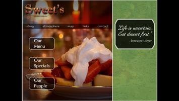 sample Flash website for Sweet's Restaurant